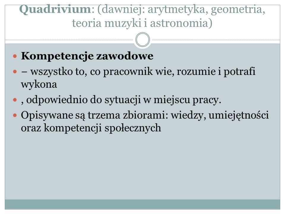 Quadrivium: (dawniej: arytmetyka, geometria, teoria muzyki i astronomia)