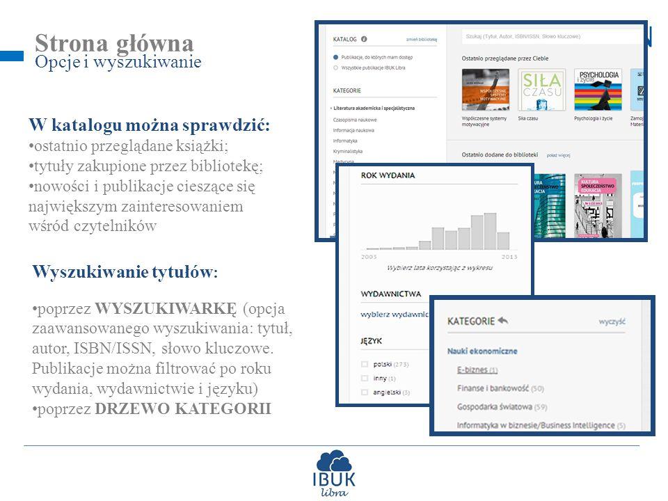 Strona główna Opcje i wyszukiwanie W katalogu można sprawdzić: