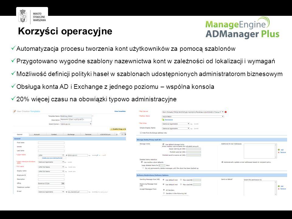 Korzyści operacyjne Automatyzacja procesu tworzenia kont użytkowników za pomocą szablonów.