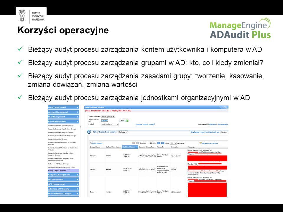 Korzyści operacyjne Bieżący audyt procesu zarządzania kontem użytkownika i komputera w AD.