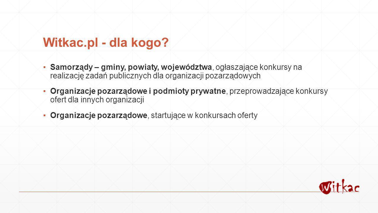 Witkac.pl - dla kogo Samorządy – gminy, powiaty, województwa, ogłaszające konkursy na realizację zadań publicznych dla organizacji pozarządowych.