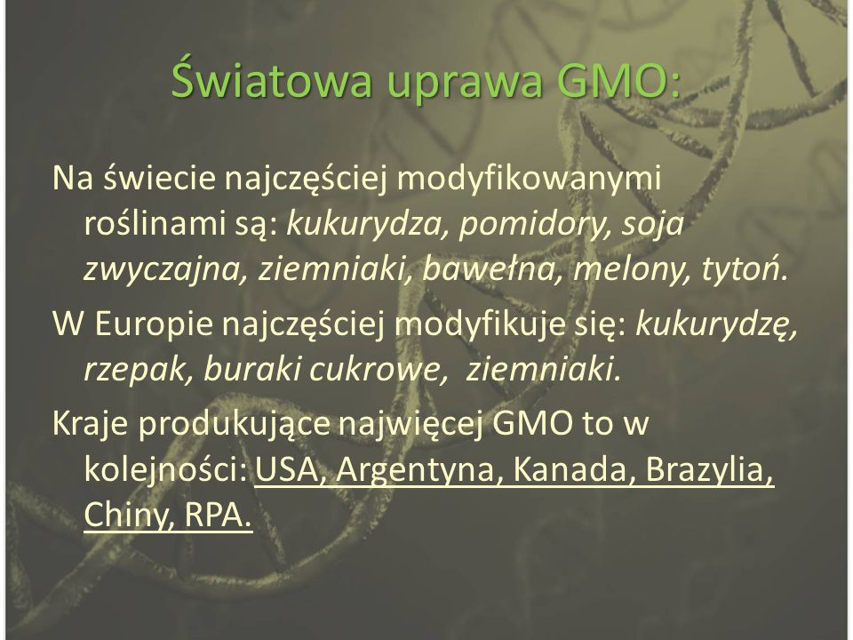 Światowa uprawa GMO: