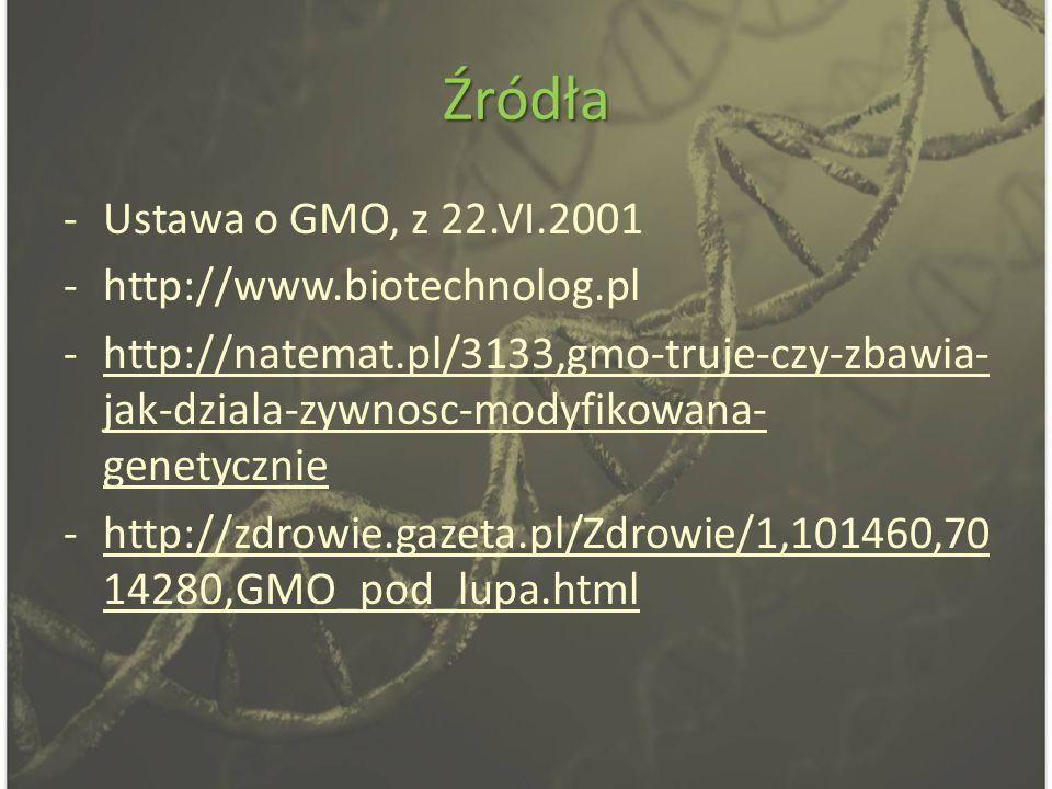 Źródła Ustawa o GMO, z 22.VI.2001 http://www.biotechnolog.pl