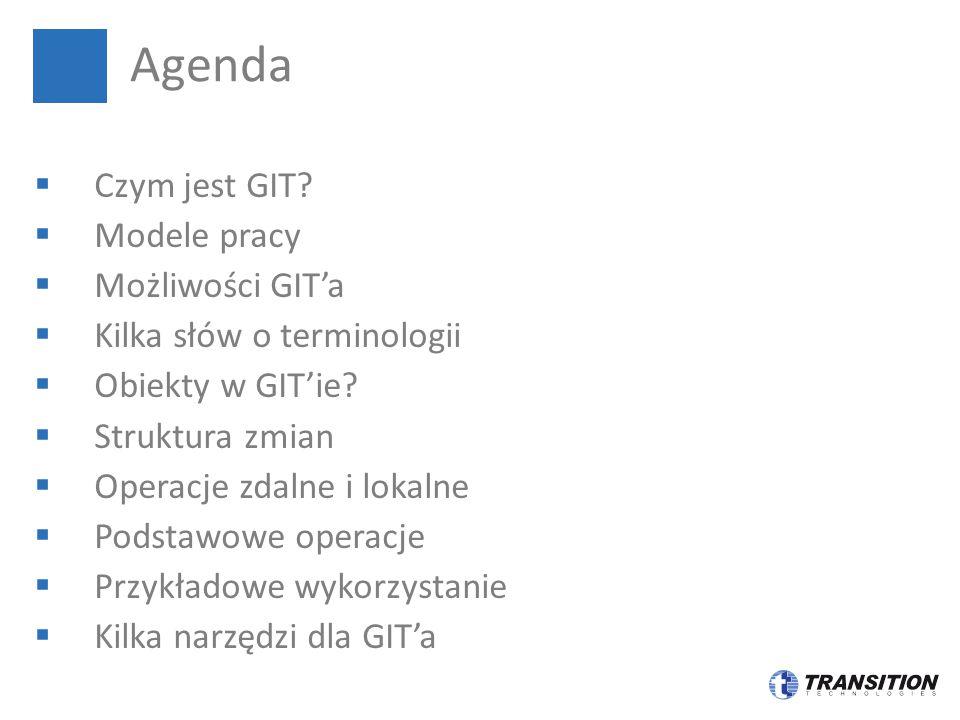 Agenda Czym jest GIT Modele pracy Możliwości GIT'a