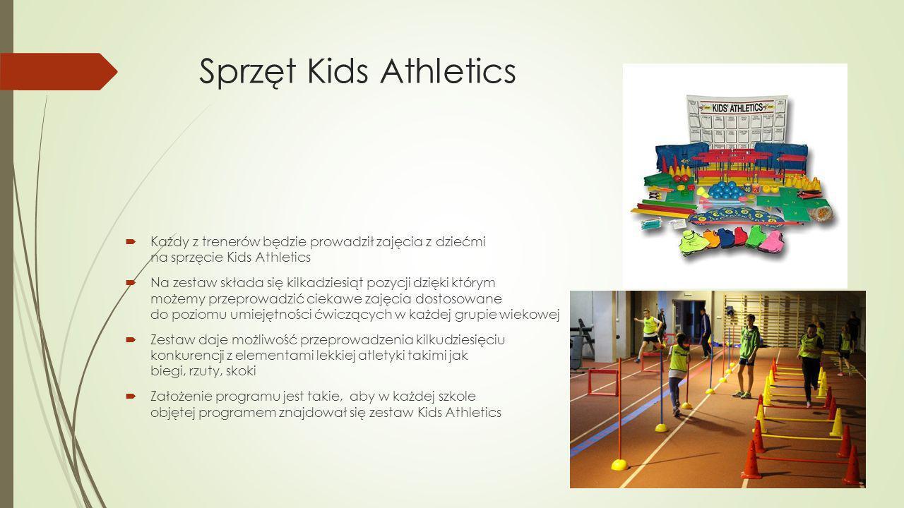 Sprzęt Kids Athletics Każdy z trenerów będzie prowadził zajęcia z dziećmi na sprzęcie Kids Athletics.