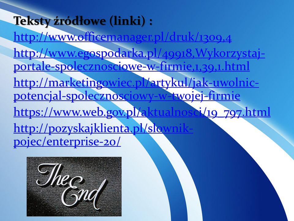 Teksty źródłowe (linki) : http://www. officemanager