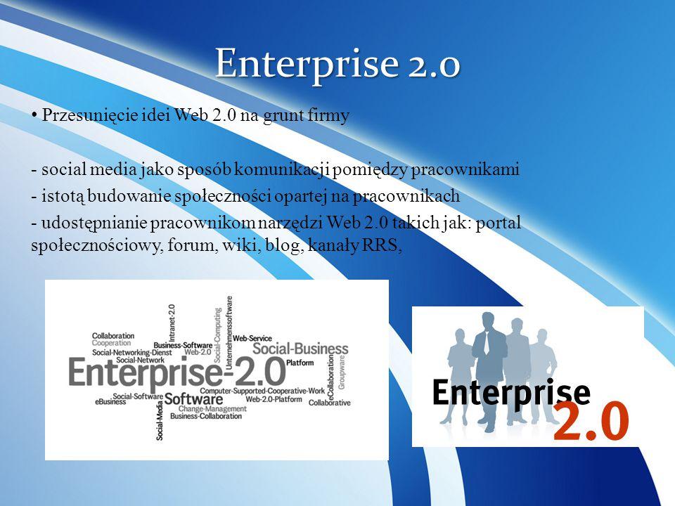 Enterprise 2.0 Przesunięcie idei Web 2.0 na grunt firmy