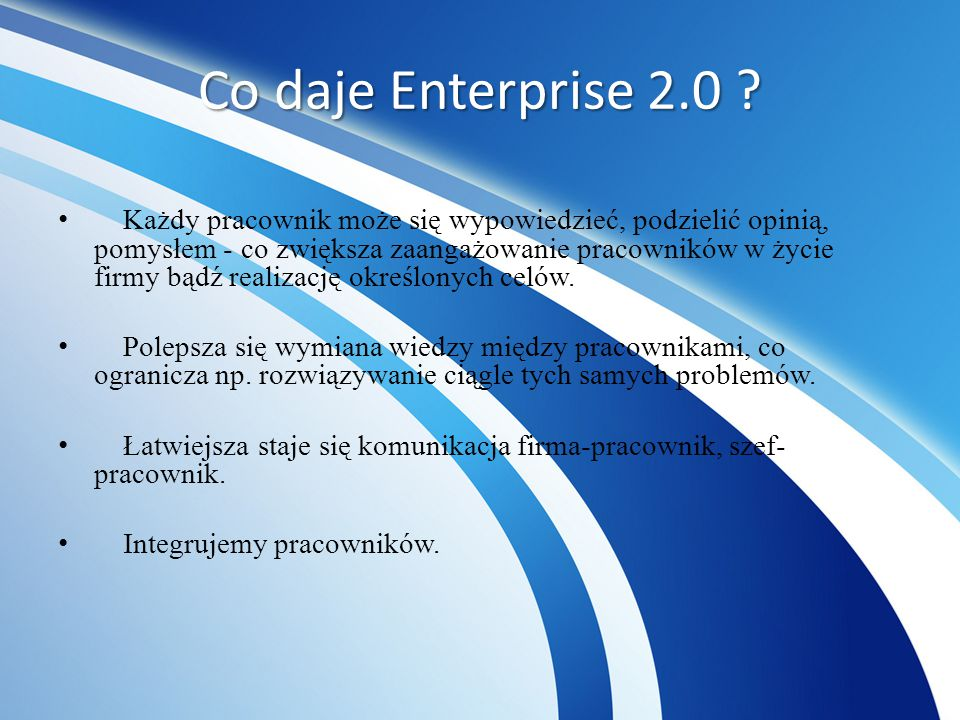 Co daje Enterprise 2.0