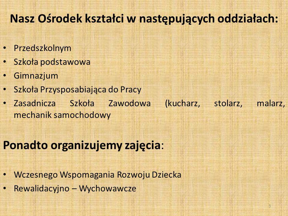 Nasz Ośrodek kształci w następujących oddziałach: