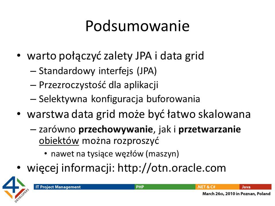 Podsumowanie warto połączyć zalety JPA i data grid