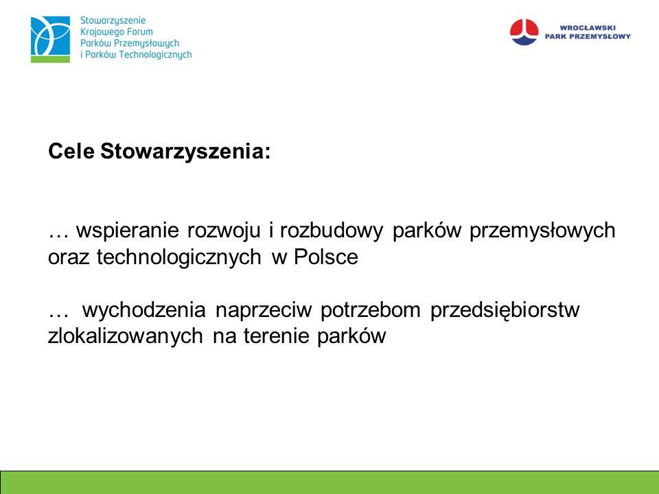 Cele Stowarzyszenia: … wspieranie rozwoju i rozbudowy parków przemysłowych oraz technologicznych w Polsce.