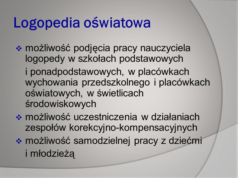 Logopedia oświatowa możliwość podjęcia pracy nauczyciela logopedy w szkołach podstawowych.