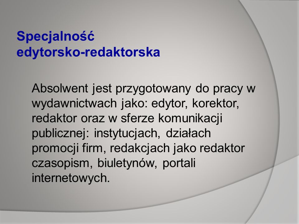 Specjalność edytorsko-redaktorska