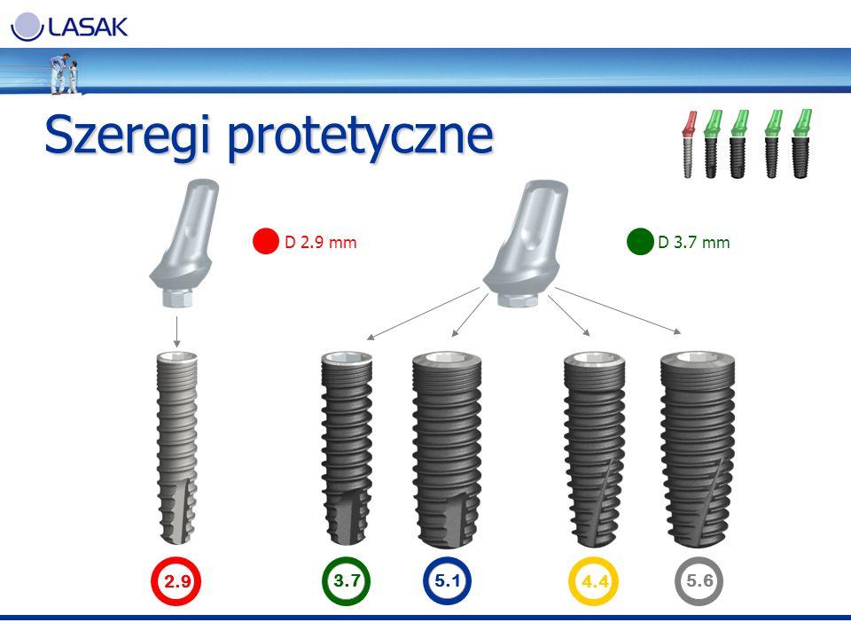 Szeregi protetyczne D 2.9 mm D 3.7 mm 2.9 3.7 5.1 4.4 5.6