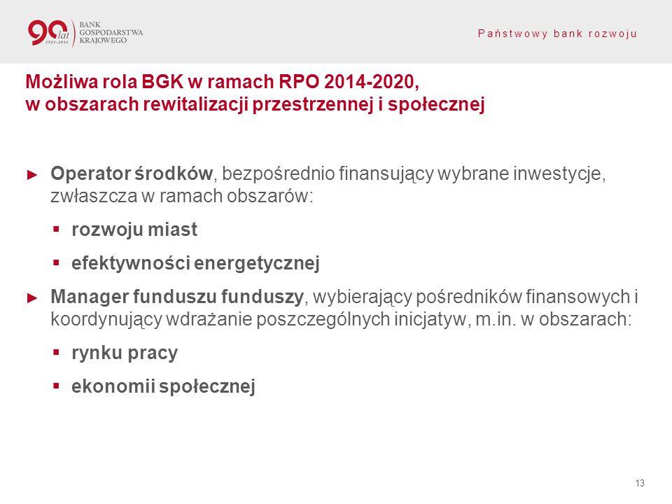Możliwa rola BGK w ramach RPO 2014-2020, w obszarach rewitalizacji przestrzennej i społecznej
