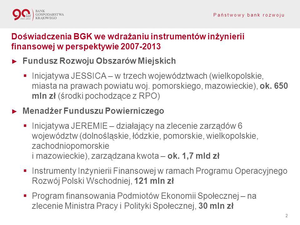 Doświadczenia BGK we wdrażaniu instrumentów inżynierii finansowej w perspektywie 2007-2013