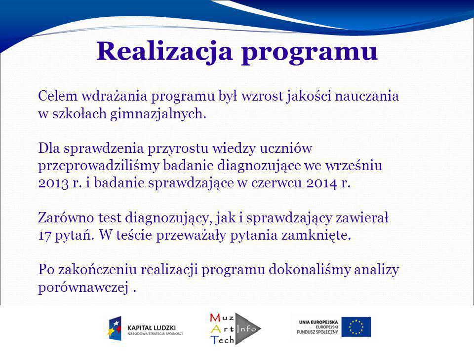 Realizacja programu Celem wdrażania programu był wzrost jakości nauczania w szkołach gimnazjalnych.