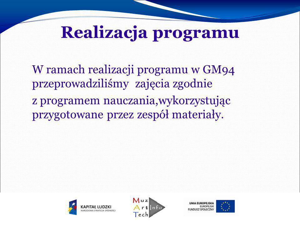 Realizacja programu W ramach realizacji programu w GM94 przeprowadziliśmy zajęcia zgodnie.