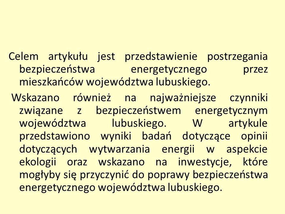 Celem artykułu jest przedstawienie postrzegania bezpieczeństwa energetycznego przez mieszkańców województwa lubuskiego.
