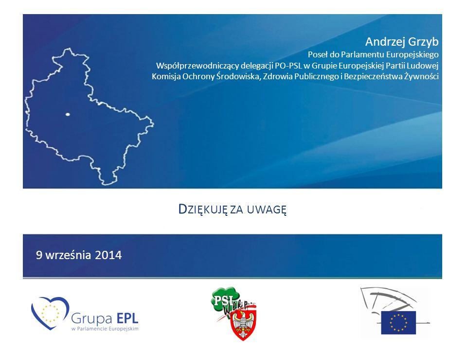 Andrzej Grzyb Poseł do Parlamentu Europejskiego Współprzewodniczący delegacji PO-PSL w Grupie Europejskiej Partii Ludowej Komisja Ochrony Środowiska, Zdrowia Publicznego i Bezpieczeństwa Żywności