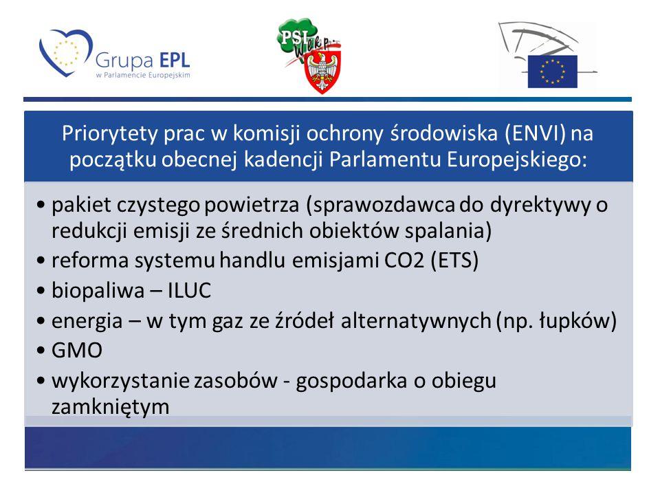 Priorytety prac w komisji ochrony środowiska (ENVI) na początku obecnej kadencji Parlamentu Europejskiego: