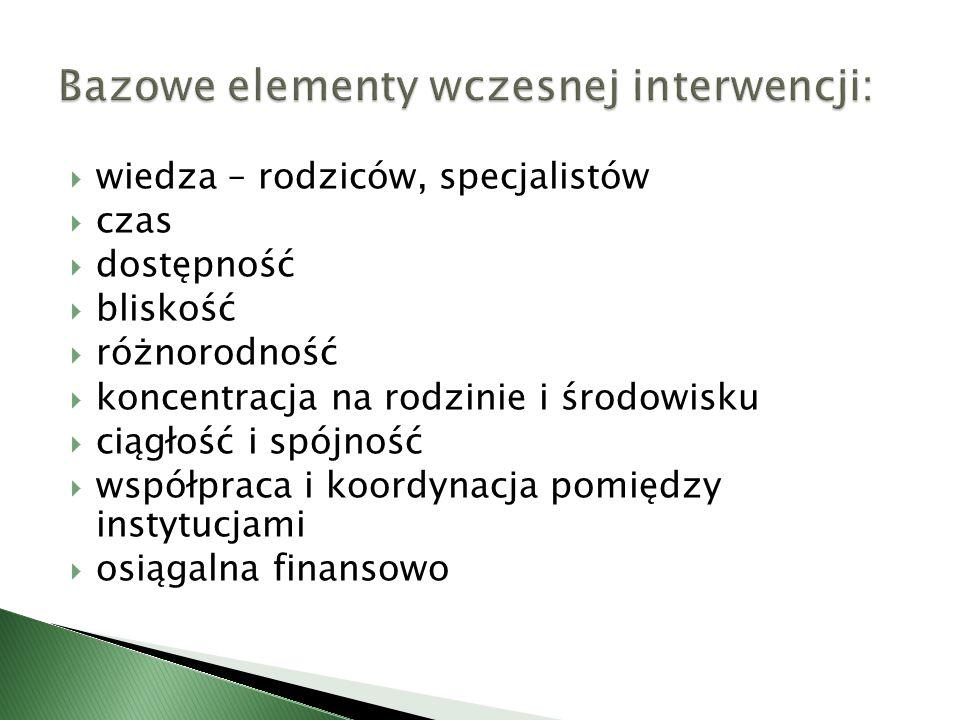 Bazowe elementy wczesnej interwencji: