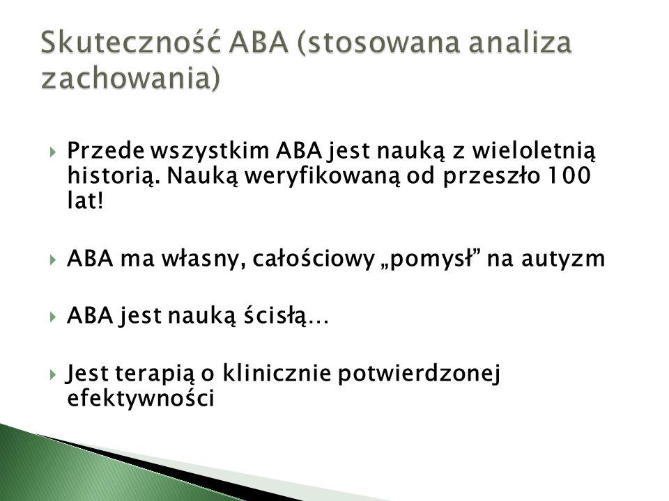 Skuteczność ABA (stosowana analiza zachowania)