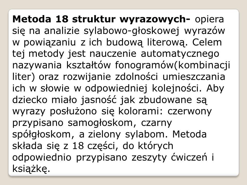 Metoda 18 struktur wyrazowych- opiera się na analizie sylabowo-głoskowej wyrazów w powiązaniu z ich budową literową.