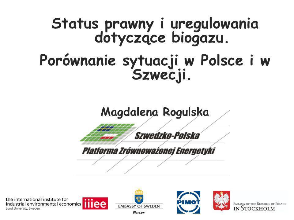 Status prawny i uregulowania dotyczące biogazu.