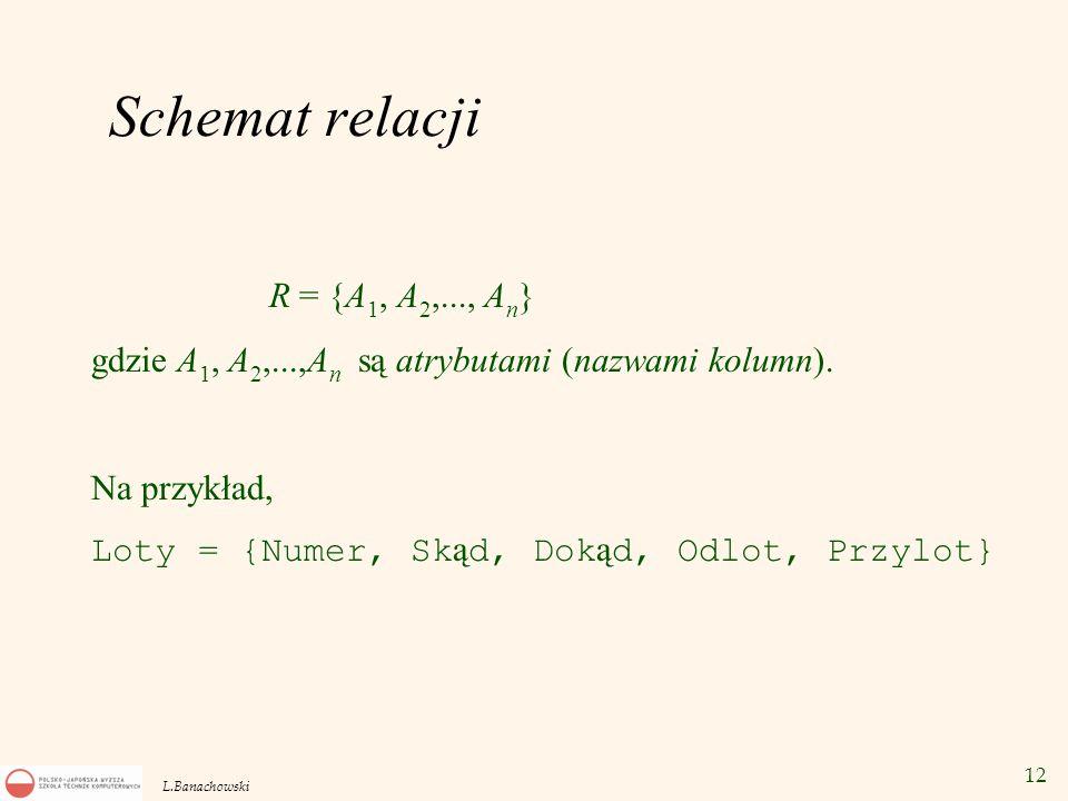 Schemat relacji R = {A1, A2,..., An}