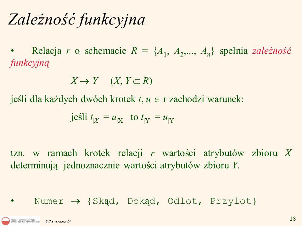 Zależność funkcyjna Relacja r o schemacie R = {A1, A2,..., An} spełnia zależność funkcyjną. X  Y (X, Y  R)