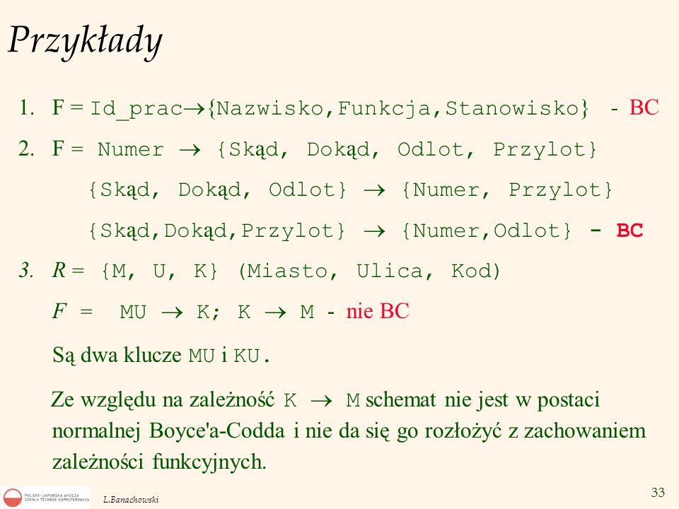 Przykłady F = Id_prac{Nazwisko,Funkcja,Stanowisko} - BC