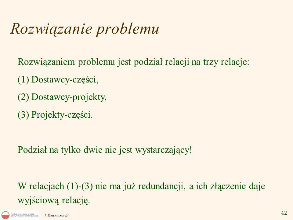 Rozwiązanie problemu Rozwiązaniem problemu jest podział relacji na trzy relacje: (1) Dostawcy-części,