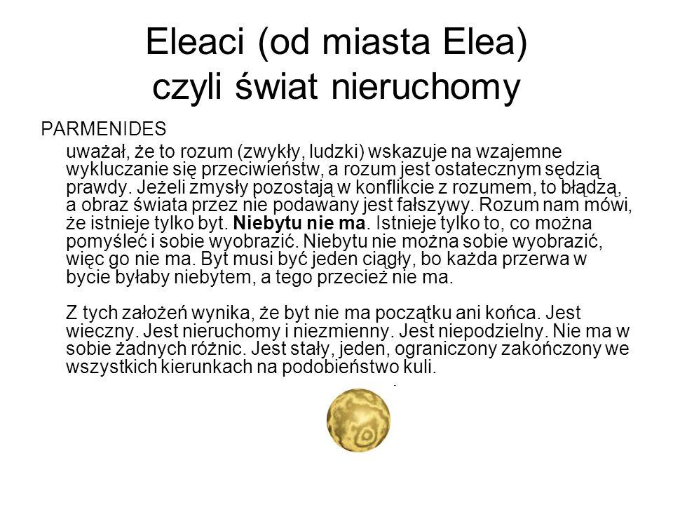 Eleaci (od miasta Elea) czyli świat nieruchomy