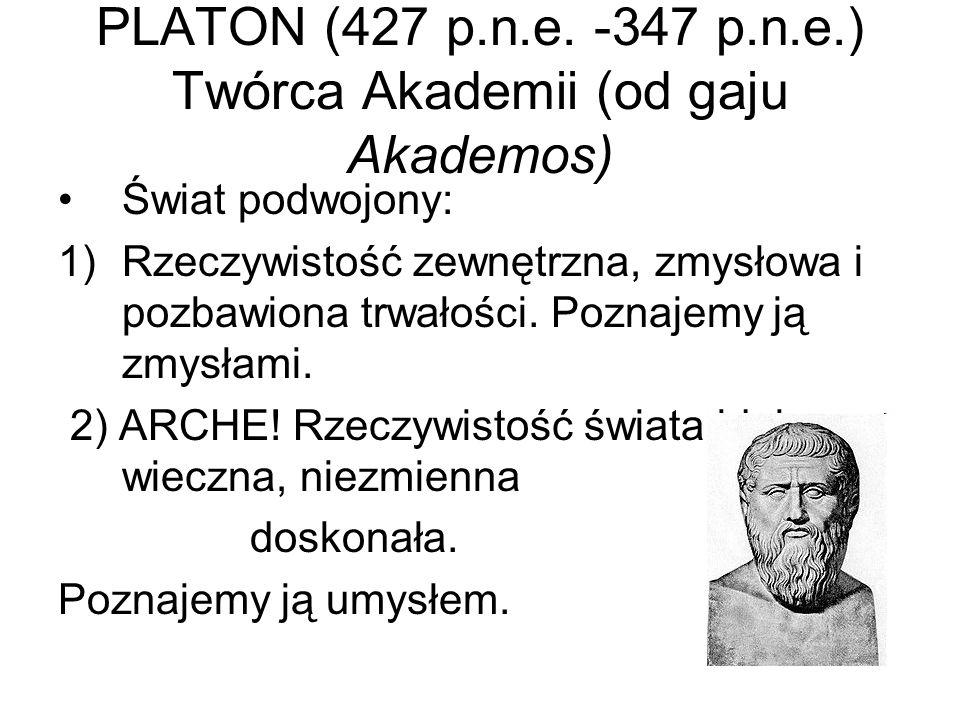 PLATON (427 p.n.e. -347 p.n.e.) Twórca Akademii (od gaju Akademos)