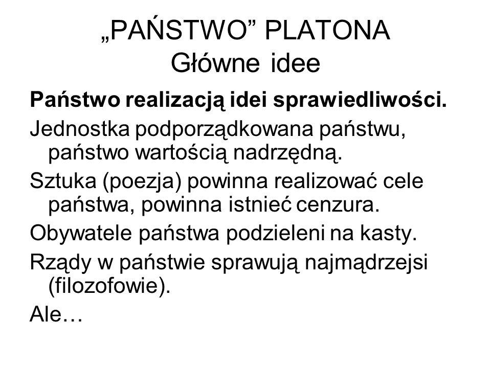 """""""PAŃSTWO PLATONA Główne idee"""