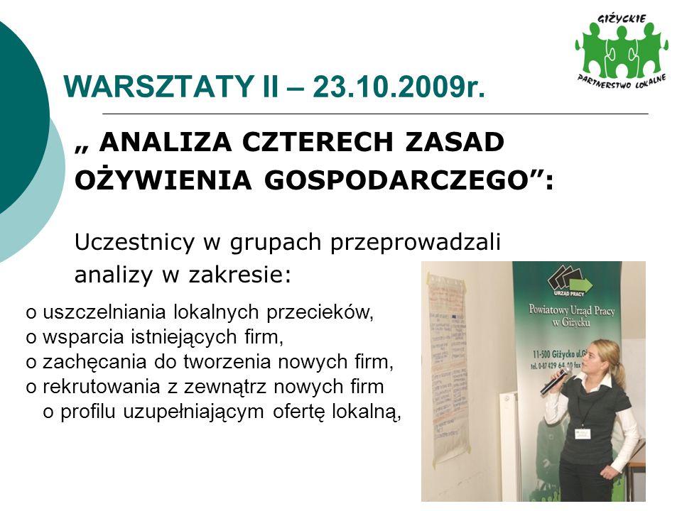 """WARSZTATY II – 23.10.2009r. """" ANALIZA CZTERECH ZASAD"""