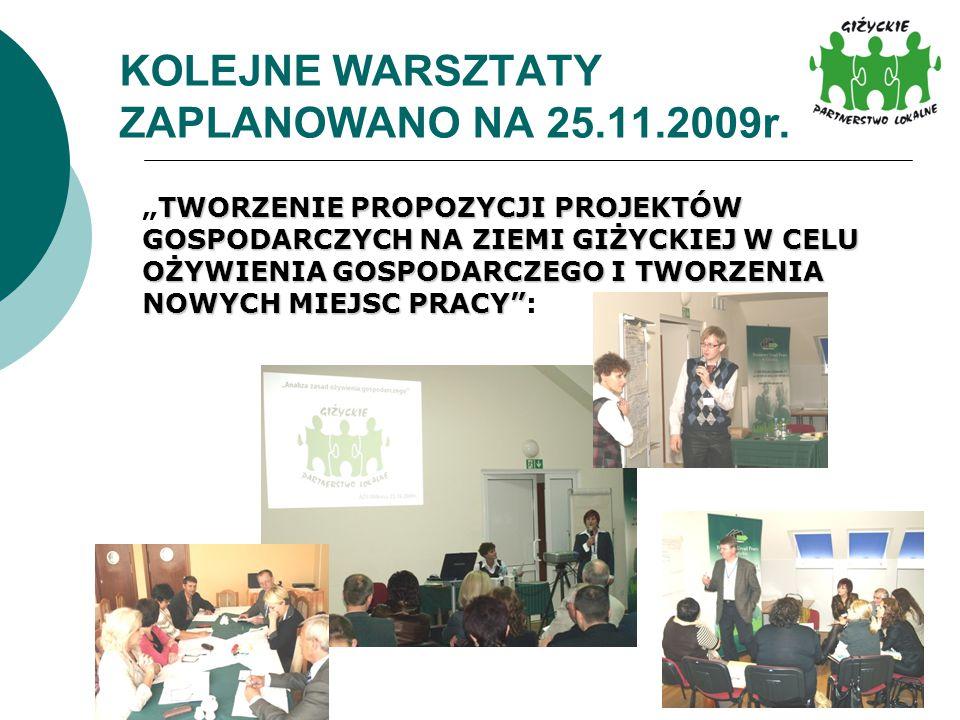 KOLEJNE WARSZTATY ZAPLANOWANO NA 25.11.2009r.