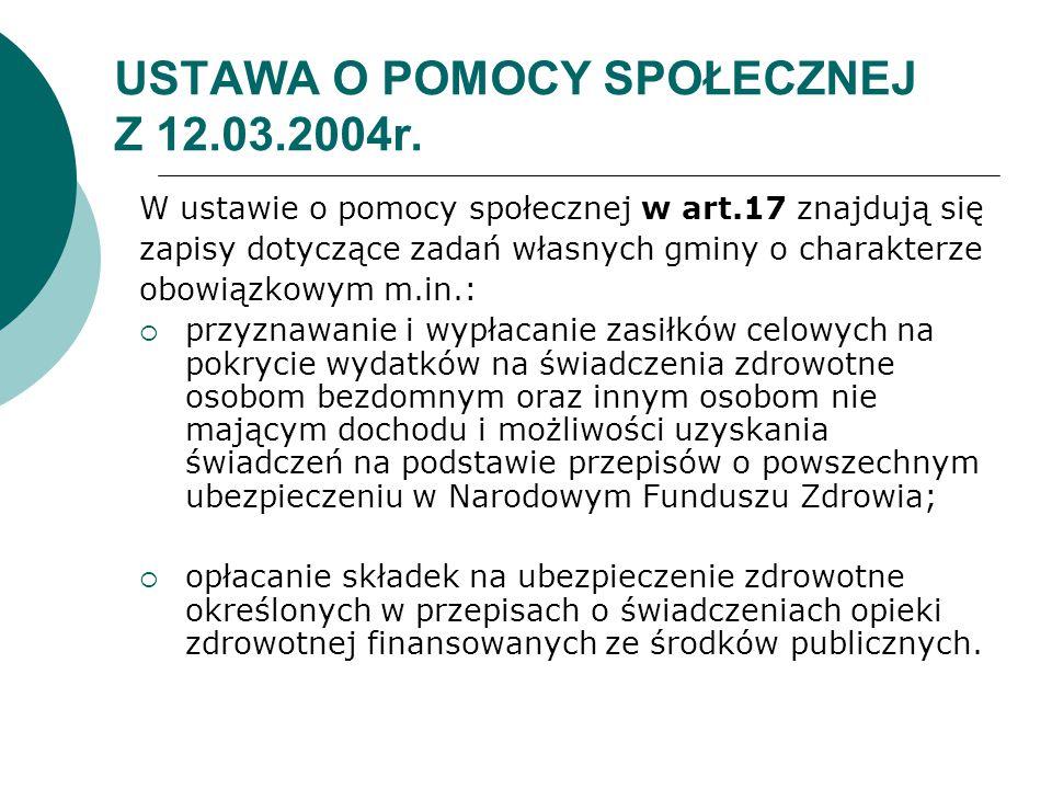 USTAWA O POMOCY SPOŁECZNEJ Z 12.03.2004r.