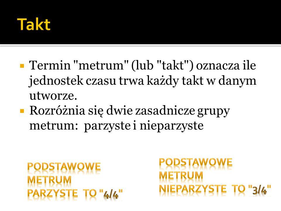 Takt Termin metrum (lub takt ) oznacza ile jednostek czasu trwa każdy takt w danym utworze.