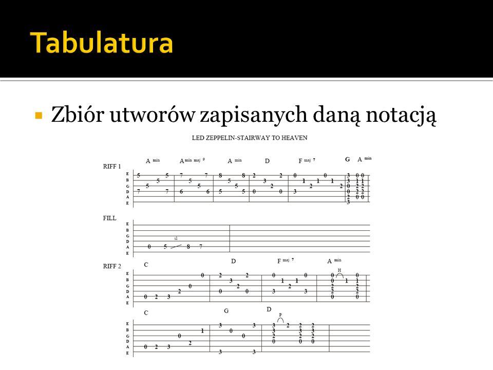 Tabulatura Zbiór utworów zapisanych daną notacją