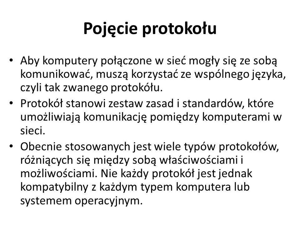 Pojęcie protokołu Aby komputery połączone w sieć mogły się ze sobą komunikować, muszą korzystać ze wspólnego języka, czyli tak zwanego protokółu.