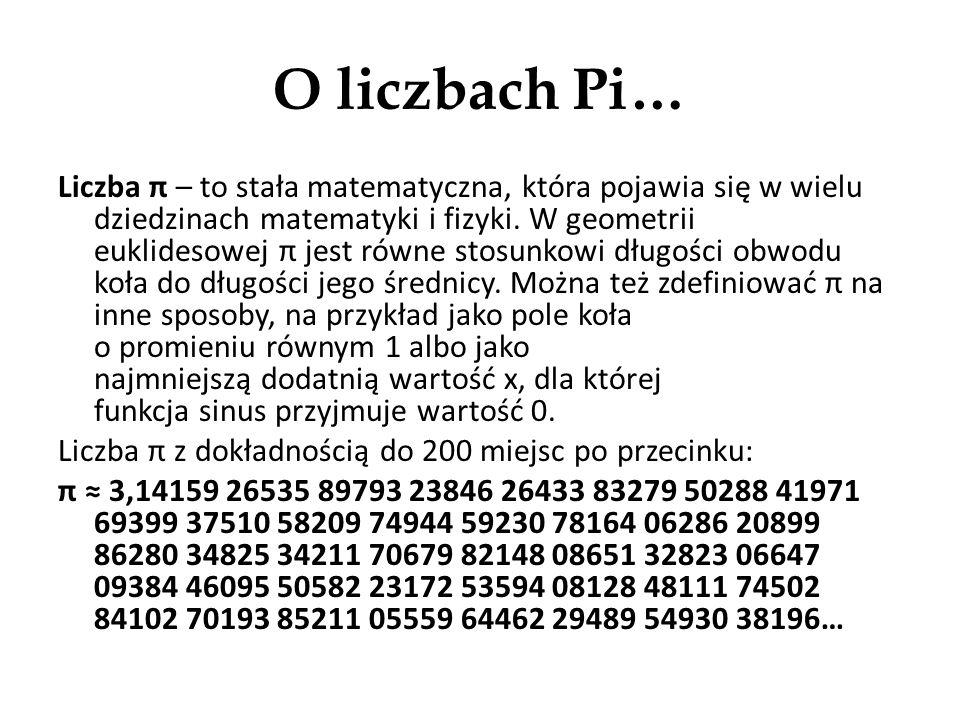 O liczbach Pi…