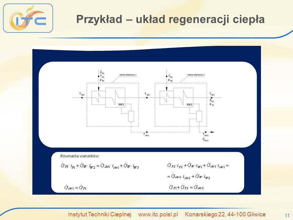 Przykład – układ regeneracji ciepła
