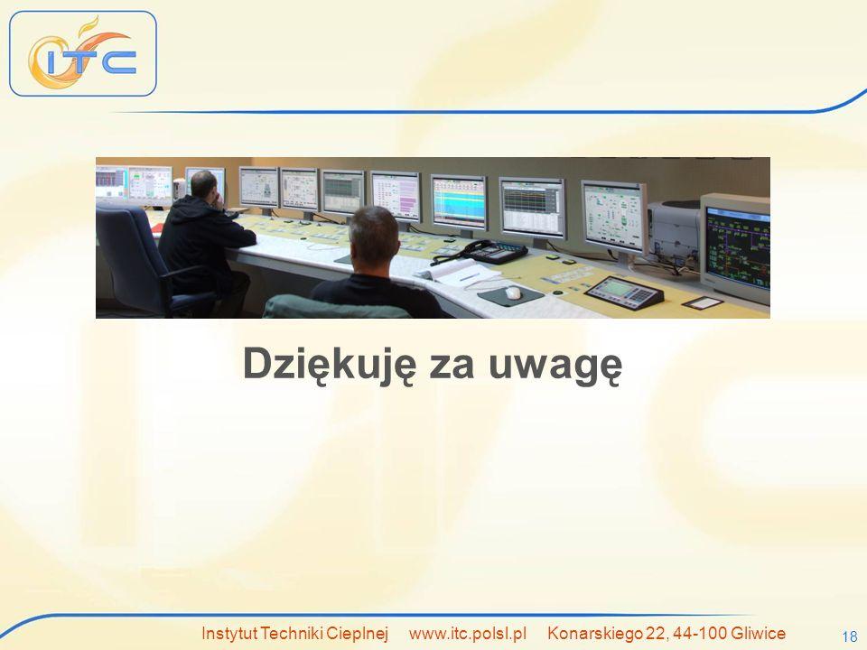 Dziękuję za uwagę Instytut Techniki Cieplnej www.itc.polsl.pl Konarskiego 22, 44-100 Gliwice.