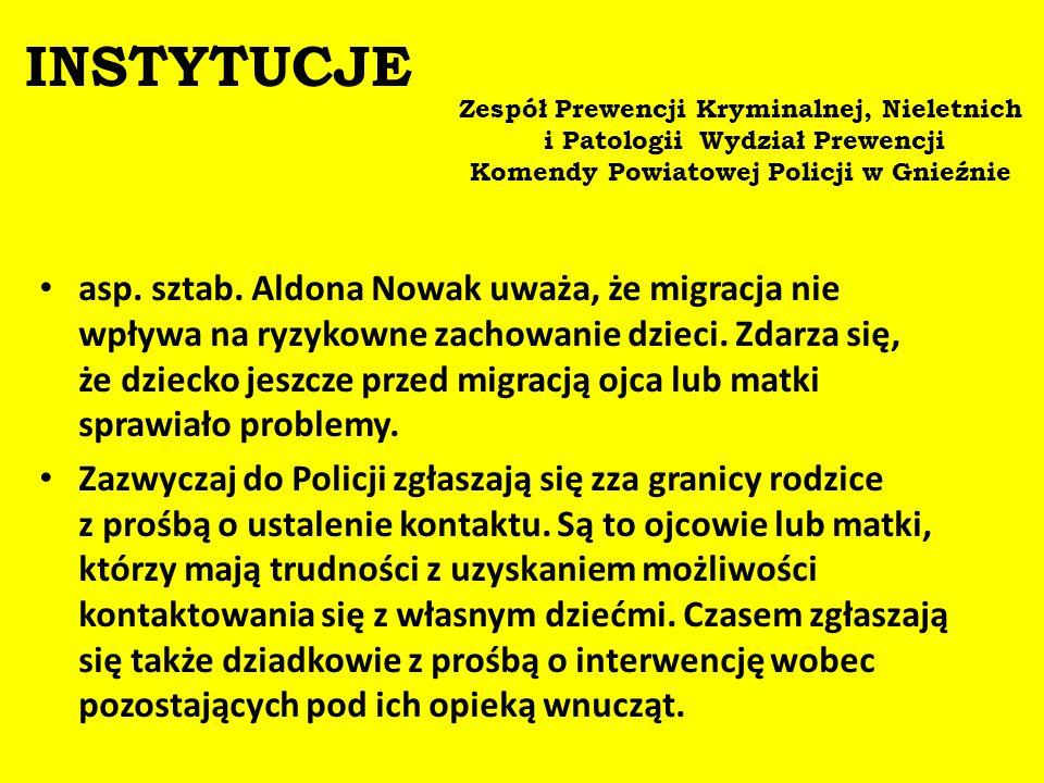 INSTYTUCJE Zespół Prewencji Kryminalnej, Nieletnich i Patologii Wydział Prewencji. Komendy Powiatowej Policji w Gnieźnie.