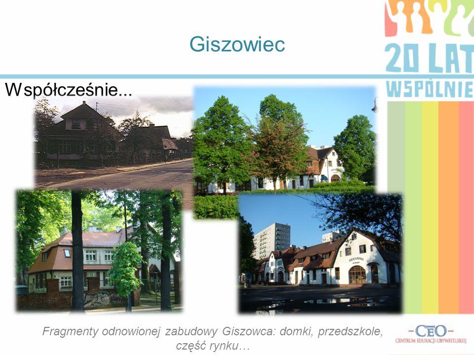 Fragmenty odnowionej zabudowy Giszowca: domki, przedszkole,