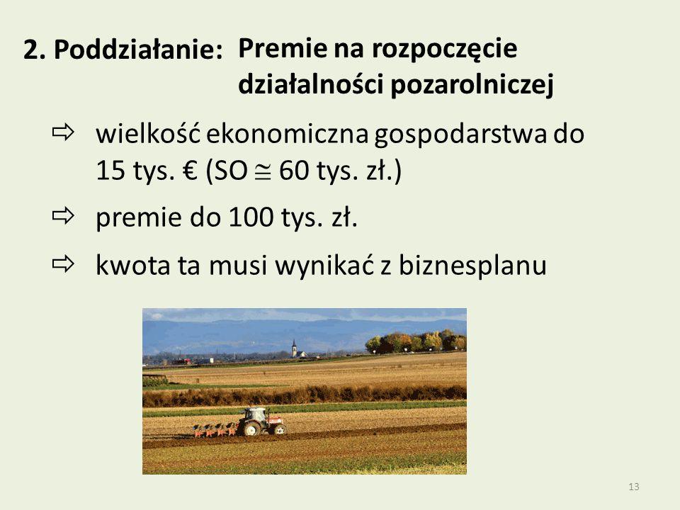 2. Poddziałanie: Premie na rozpoczęcie działalności pozarolniczej. wielkość ekonomiczna gospodarstwa do 15 tys. € (SO  60 tys. zł.)