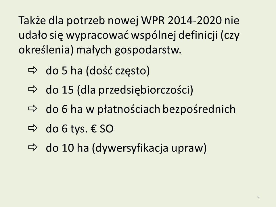 Także dla potrzeb nowej WPR 2014-2020 nie udało się wypracować wspólnej definicji (czy określenia) małych gospodarstw.