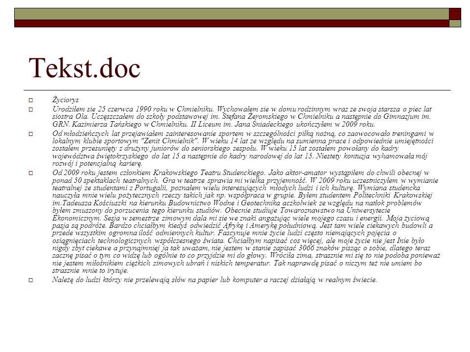 Tekst.doc Życiorys.